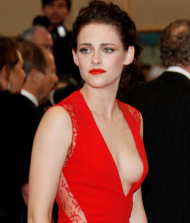 Kristen Stewart Boobs See Through Dress